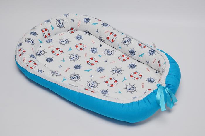 Baby Nest 0-6 luni, model cu ancore mici si albastru 0