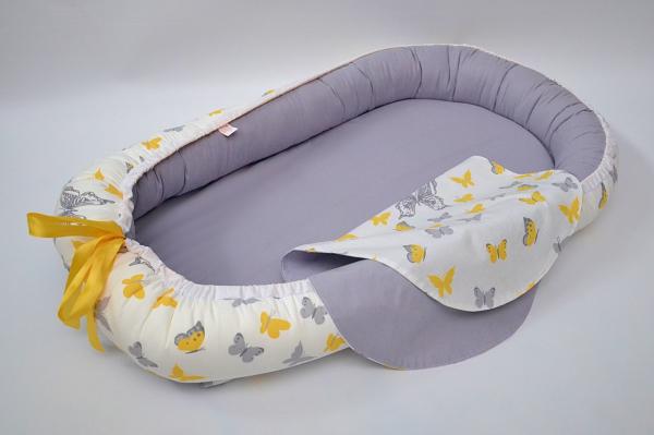 Baby Nest 0-6 luni, model fluturi galbeni și gri [1]