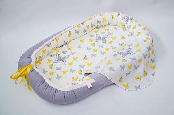Baby Nest 0-6 luni, model fluturi galbeni și gri [0]