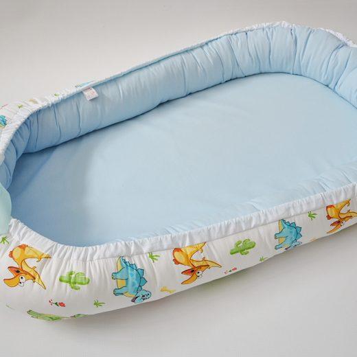 Baby Nest 0-6 luni, model cu dinozauri și bleu 1