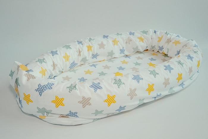 Baby nest 0-8 luni 3 in 1: culcuș, protecție pătuț și saltea, model cu stelute galbene, gri și cappucino [1]