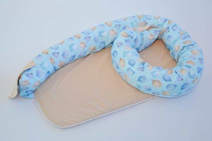 Baby nest 0-8 luni 3 in 1: culcuș, protecție patuț și saltea, model albastru cu baloane și bej [1]