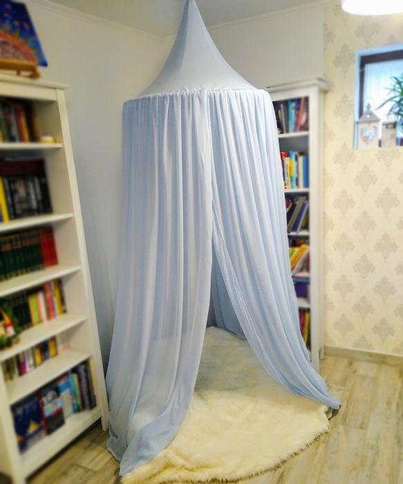 Baldachin de tavan bleu cu buline mărunte, diametru 75 cm [0]