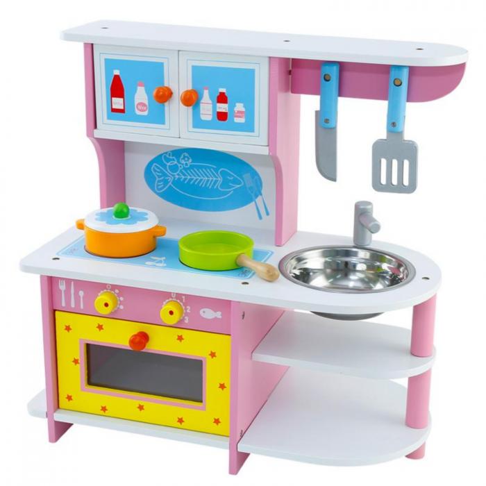 Bucatarie din lemn pentru fete, roz cu cuptor si ustensile 0