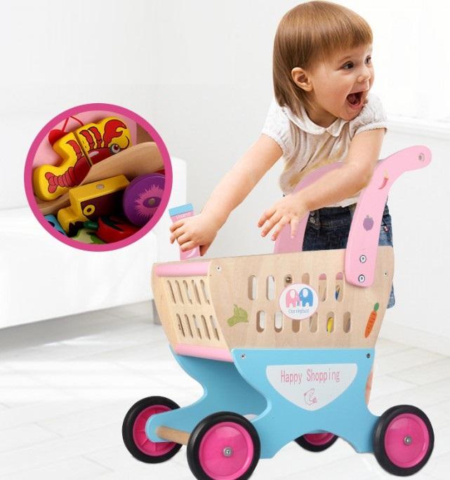 Carucior de cumparaturi din lemn pentru copii, cu accesorii 1