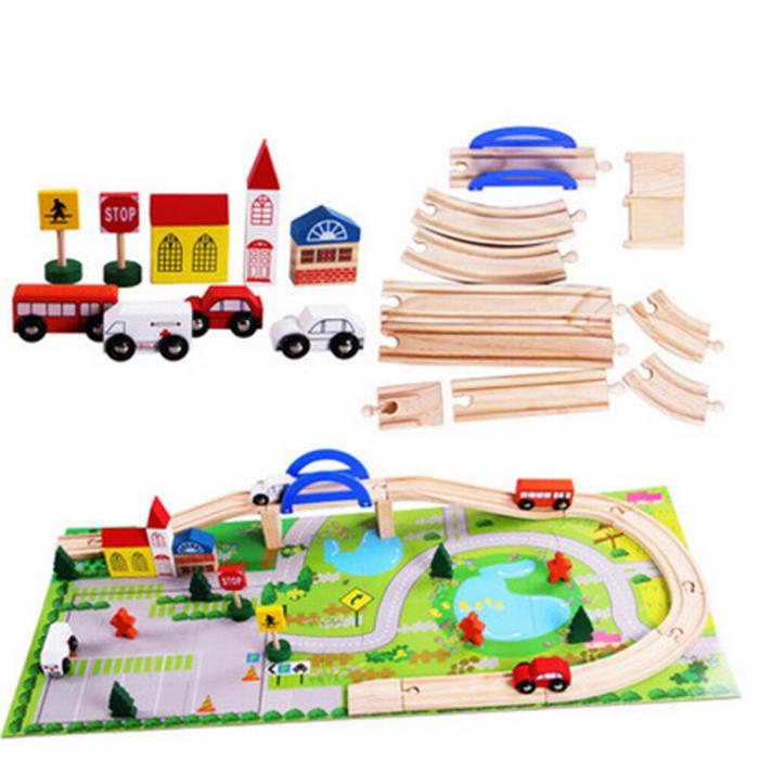 Circuit din lemn cu 40 piese - masinute, sine din lemn, peisaje 0