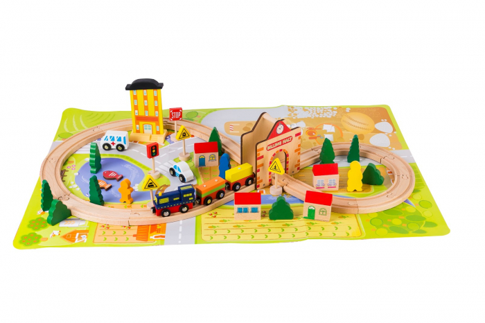 Circuit din lemn tren locomotiva, masini si plansa Oras 0