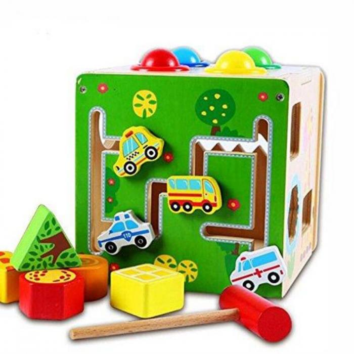 Cub educativ Montessori din lemn 5 in 1 cu activitati, labirint, sortare, ciocanel cu bile 0