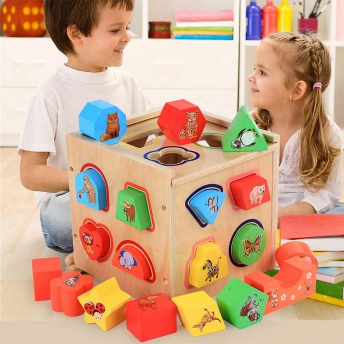 Cub educativ Montessori din lemn 5 in 1 cu activitati, sortare forme geometrice 0