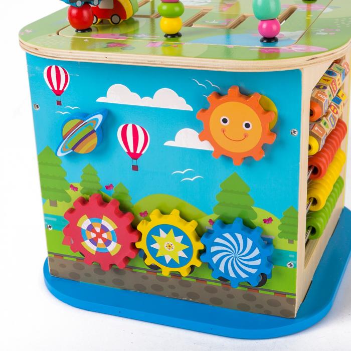 Cub educativ multifunctional din lemn cu labirint masinute si roti zimtate 1