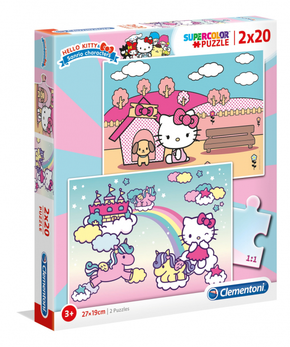 Puzzle Super Color Hello Kitty, 2x20 Piese [0]