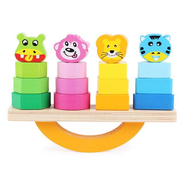 Joc lemn de echilibru, balansoar sortare forme si culori. [4]