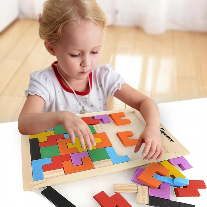 Joc logic Tetris din lemn. 1