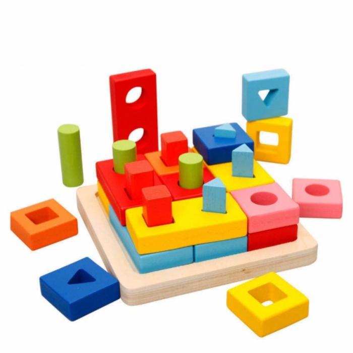 Jucarie lemn coloane sortator forme geometrice si culori 0