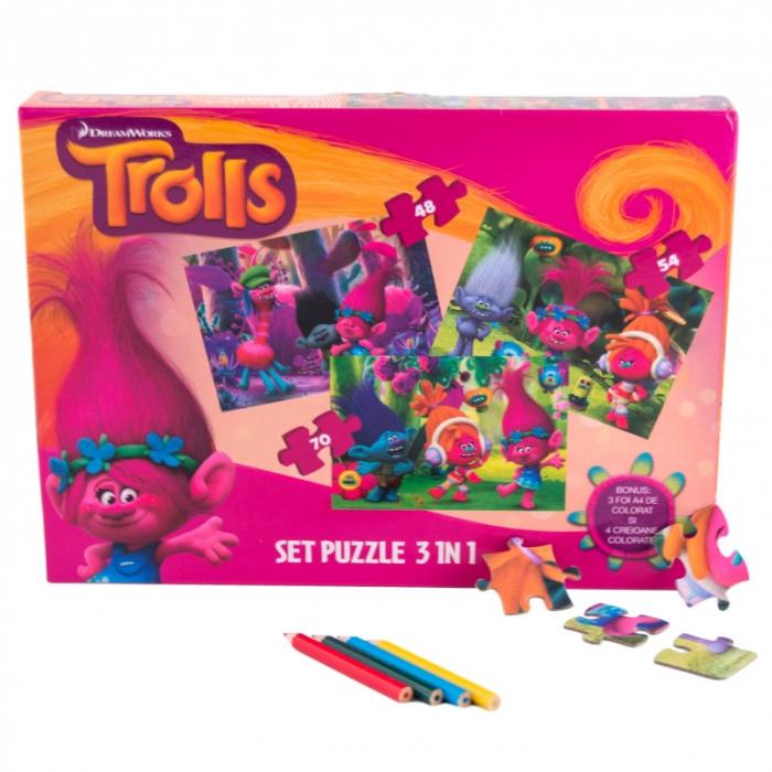 Puzzle 3 in 1 Trolls 0