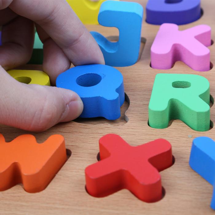 Puzzle din lemn cu litere de tipar - Alfabet 3
