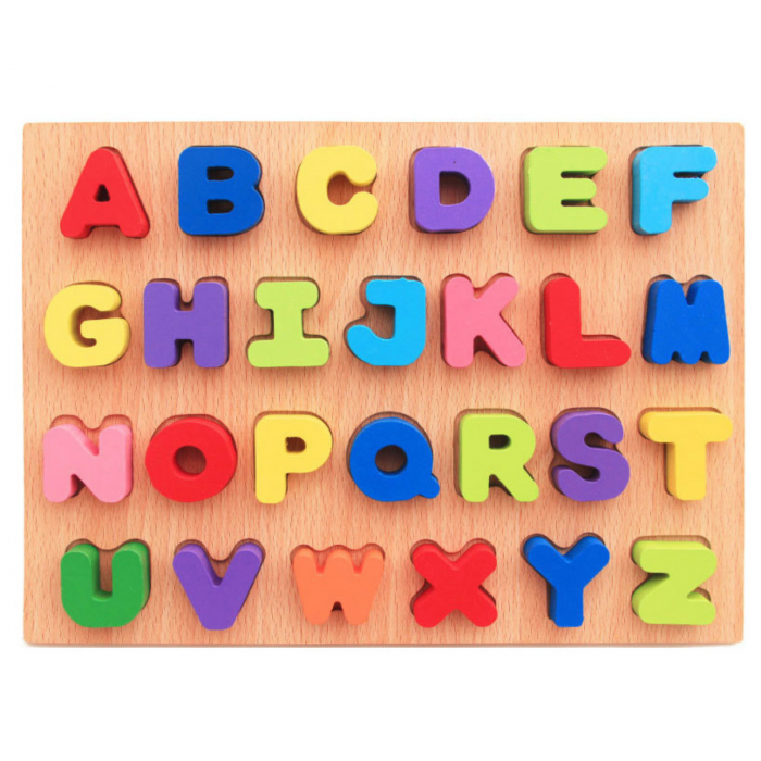 Puzzle din lemn cu litere de tipar - Alfabet 0