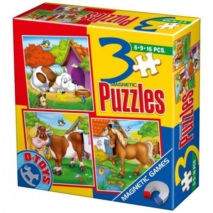 Puzzle Magnetic - Set 3 puzzle-uri Animale. 0