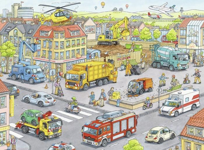 Puzzle Ravensburger - Utilaje in oras, 100 piese 1