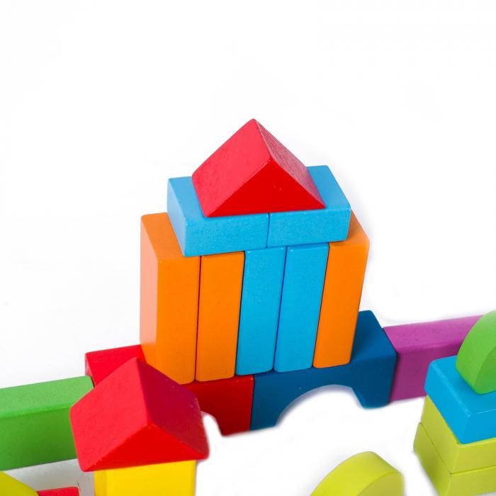 Set cuburi constructie din lemn, colorate si distractive - 100 bucati 3