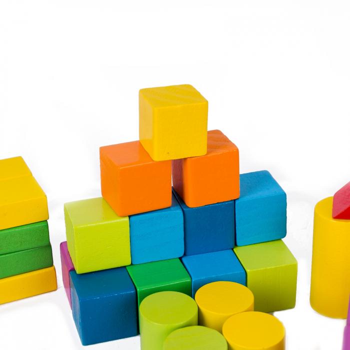 Set cuburi constructie din lemn, colorate si distractive - 100 bucati 2
