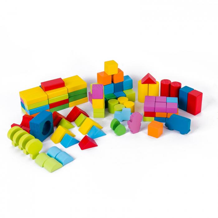 Set cuburi constructie din lemn, colorate si distractive - 100 bucati 1
