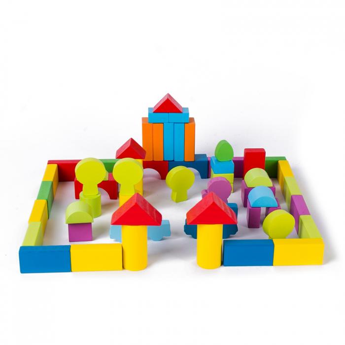 Set cuburi constructie din lemn, colorate si distractive - 100 bucati 0