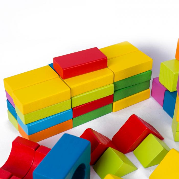 Set cuburi constructie din lemn, colorate si distractive - 100 bucati 5