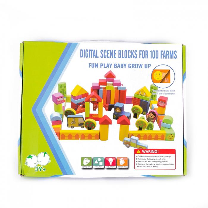 Set cuburi constructie din lemn, colorate si distractive - 100 bucati 4