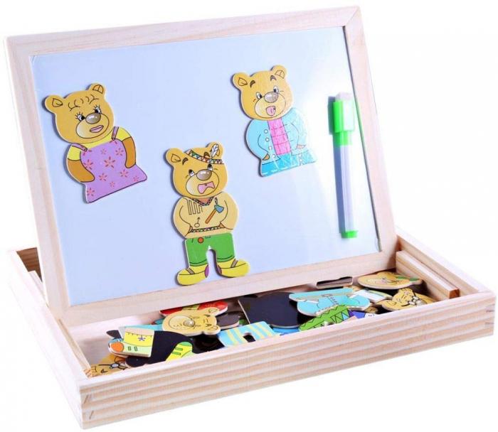 Tablita magnetica din lemn 3 in 1 cu ursuleti. 4