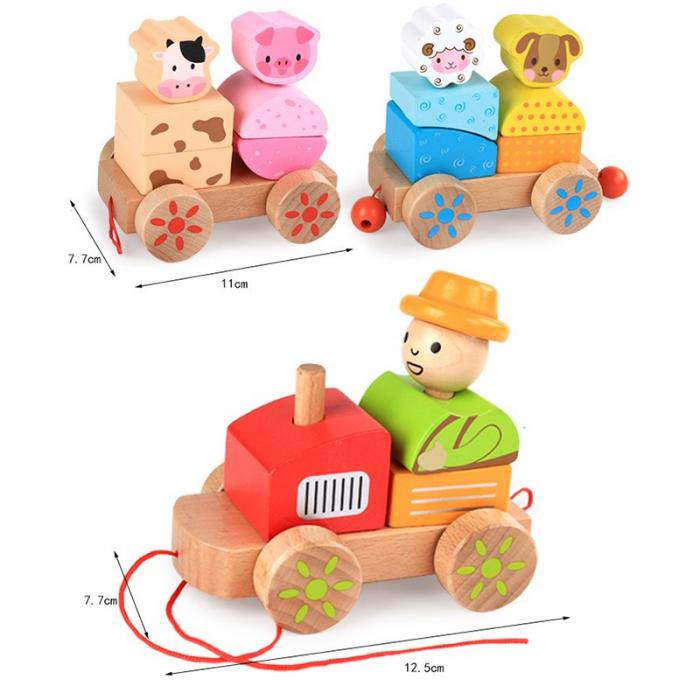 Tren din lemn cuburi geometrice si animale [1]