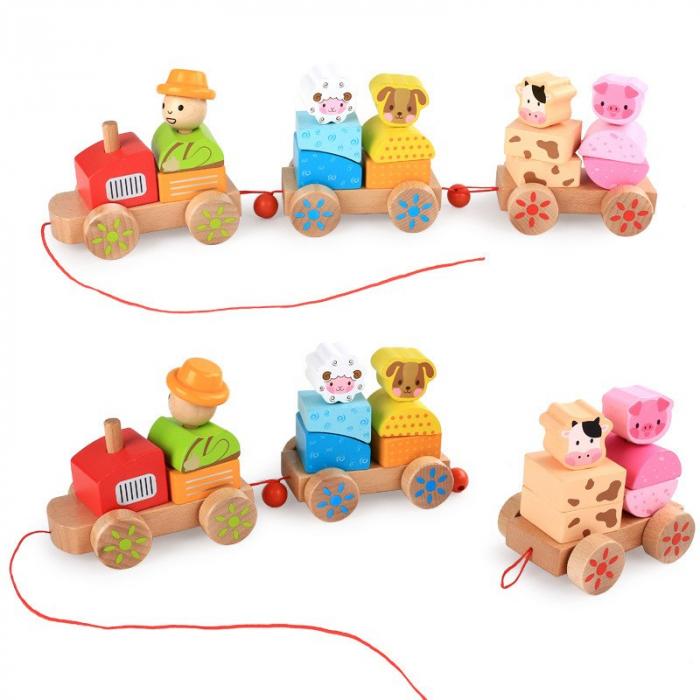 Tren din lemn cuburi geometrice si animale [7]