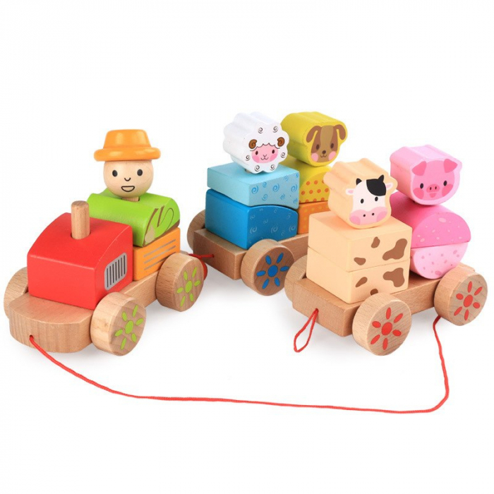 Tren din lemn cuburi geometrice si animale [5]