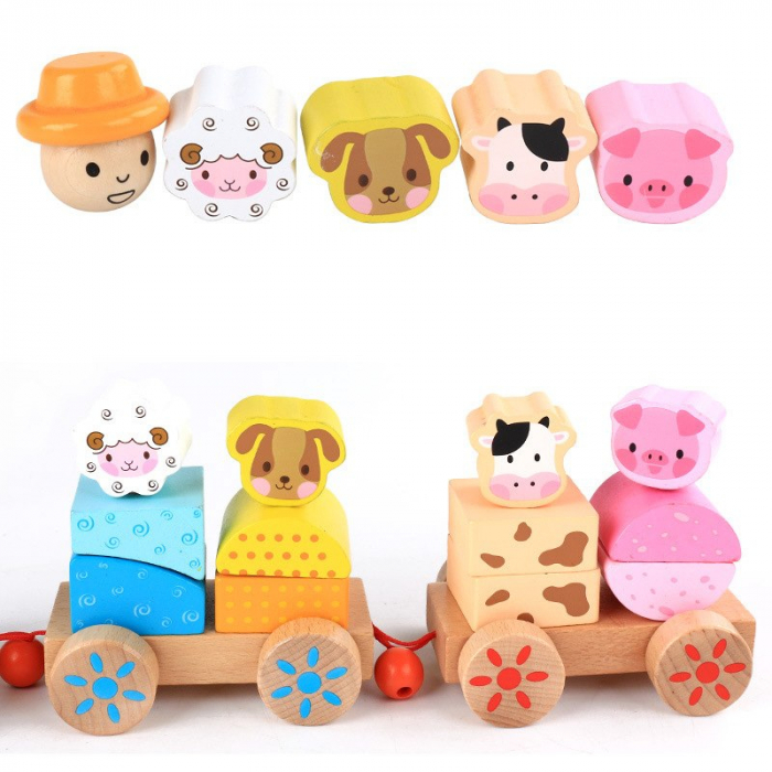 Tren din lemn cuburi geometrice si animale [6]