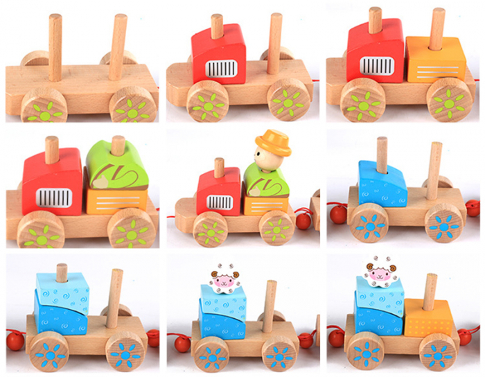 Tren din lemn cuburi geometrice si animale [2]
