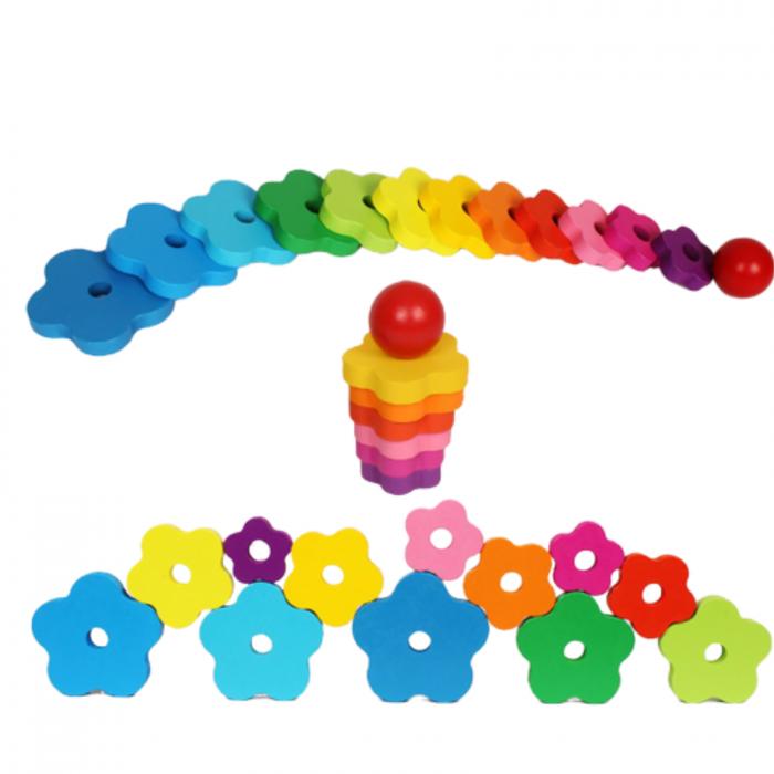 Turn Montessori din Lemn 13 piese curcubeu. 4