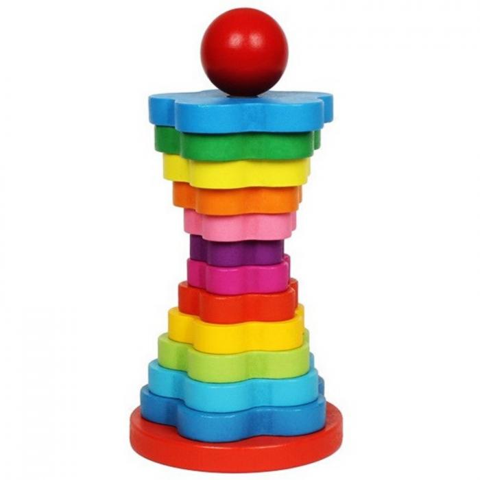 Turn Montessori din Lemn 13 piese curcubeu. 6