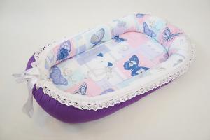 Baby Nest 0-6 cu fluturi mov DeLux + protecţie [0]