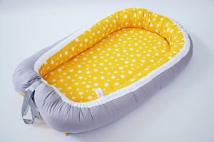 Baby Nest 0-6 luni cu gri uni și galben cu stele+protectie [0]