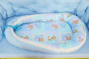 Baby nest 0-6 luni cu ursuleți pe bleu+protecție [2]