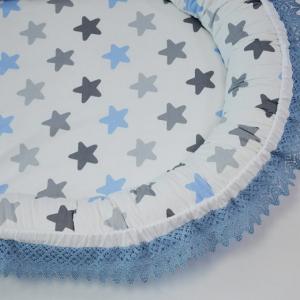 Baby Nest 0-6 luni, compact, model stele bleu,gri cu insertie dantela pe margini [1]
