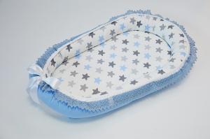 Baby Nest 0-6 luni, compact, model stele bleu,gri cu insertie dantela pe margini [0]