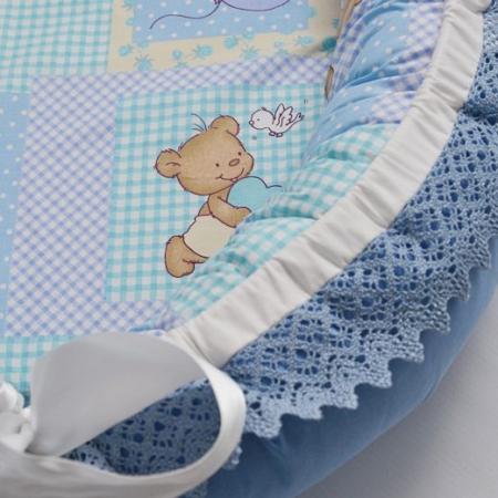 Baby Nest 0-6 luni, compact, model ursuleti, albastru [1]