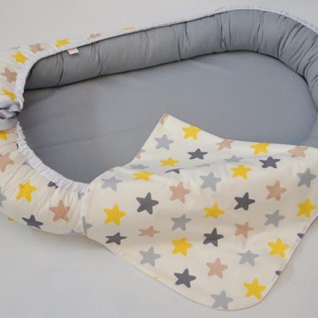Baby Nest 0-6 luni: gri cu stele galben, gri, cappucino + protecție2
