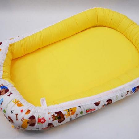 Baby Nest 0-6 luni, model caței și galben uni [1]