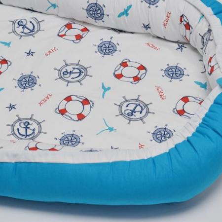 Baby Nest 0-6 luni, model cu ancore mici si albastru1