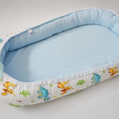 Baby Nest 0-6 luni, model cu dinozauri și bleu1
