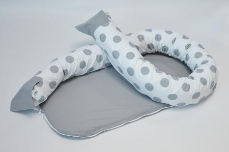 Baby nest 0-8 luni 3 in 1: culcuș, protecție pătuț și saltea. Alb cu buline gri [1]