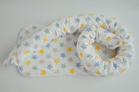 Baby nest 0-8 luni 3 in 1: culcuș, protecție pătuț și saltea, model cu stelute galbene, gri și cappucino [2]