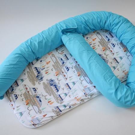 Baby nest 0-8 luni 3 in 1: culcuș, protecție pătuț și saltea. Albastru cu munți [1]